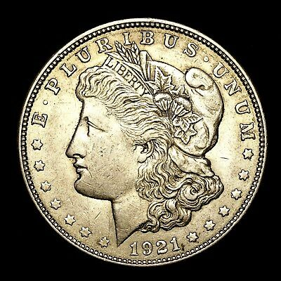1921 D ~**ABOUT UNCIRCULATED AU**~ Silver Morgan Dollar Rare US Old Coin! #V26