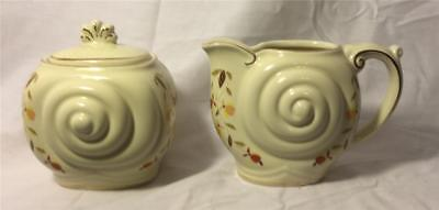 Hall China 1997 Autumn Leaf Jewel Tea Nalcc Nautilus Sugar & Creamer Beautiful