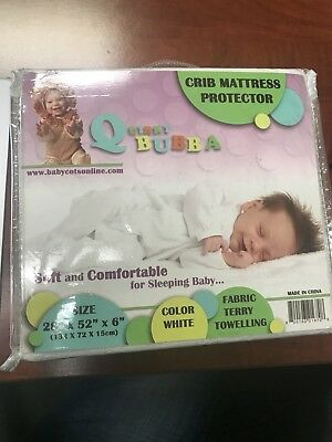 "Quirky Bubba crib mattress protector 28""×52""×6"" White New"