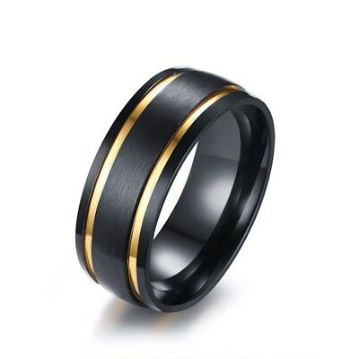 8mm Men Brushed Black Wedding Band Stainless Steel Gold Tone Double Grooved Ring