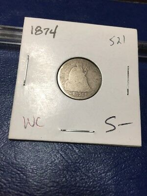 1874 10C Arrows Liberty Seated Dime
