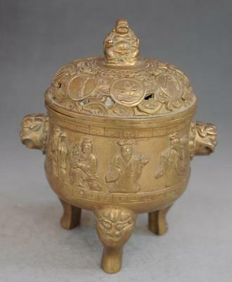 chinese old pure copper hand engraving Eight immortals three foot censer d02