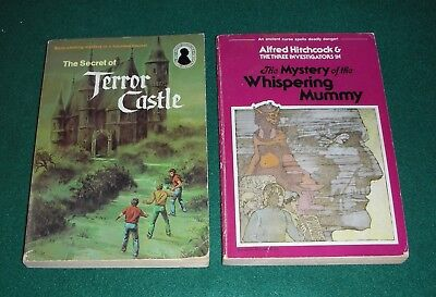 Hitchcock & 3 Investigators # 1, 3~Lot of 2 PB~Terror Castle, Whispering Mummy