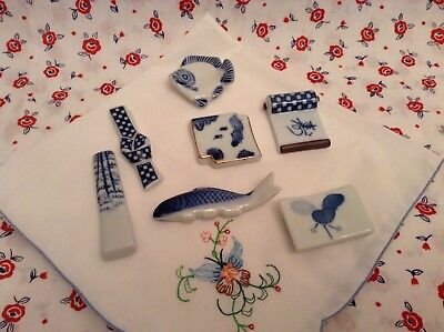 Lot 7 Blue and White Fish & Misc. Chopstick Rests - all different - ceramic