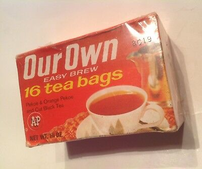 Vintage NOS Sealed 50s 60s A&P Grocery Store Our Own Tea Bags Box Advertising