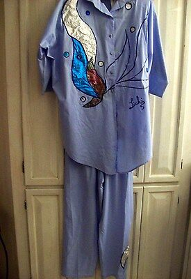 Vintage 80's BLUE 100% Cotton Pants/Top with Metallic Applique / Size M
