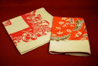 CHARMING VINTAGE 1940s 50s LINEN TABLECLOTHS RED FRUITS & FLORAL NICE!