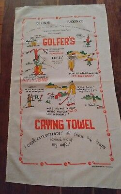Vtg cotton tea towel Golfers Crying Towel made in Canada