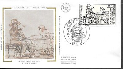 FR387) France 1983 Man Dictating Letter Silk FDC $4.00