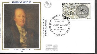 FR392) France 1983 American Independence Silk FDC $4.00