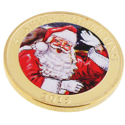 MagiDeal Gold Plated Christmas Santa Claus Commemorative Coin Toy Token Art