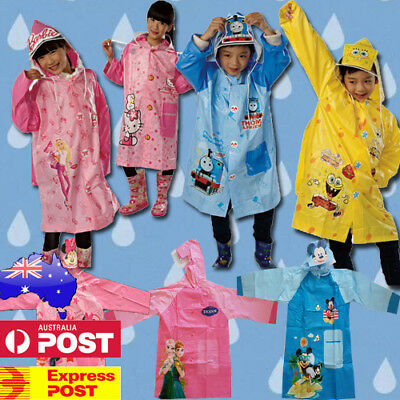 New Safe Kids Raincoat Jacket Hoodie Cover Boys Girls Rain Weather Heroes