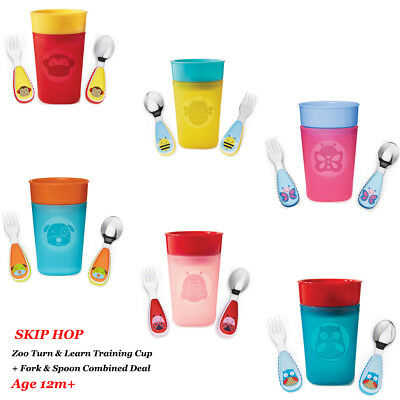 Skip Hop Zoo Turn & Learn Training Cup & Tensils Fork & Spoon set