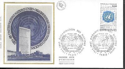 FR427) France 1985 United Nations Organisation Silk FDC $4.00