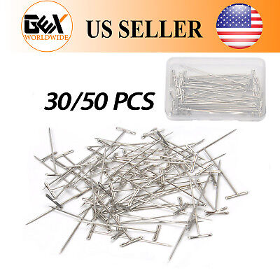 "GEX 30/50PCS T-Pins 2"" Straight Needles Set Knitting Sewing Craft  Macrame Wigs"