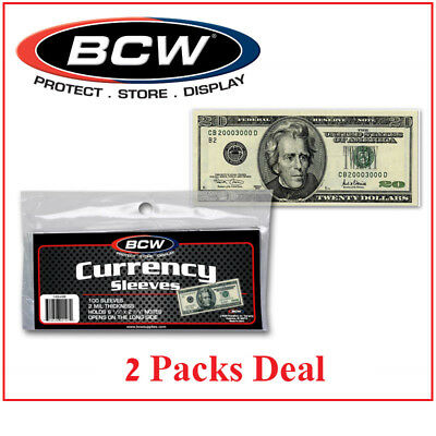 200 Modern Size US Currency Banknotes Sleeves Protectors BCW Ultra Thin Holders
