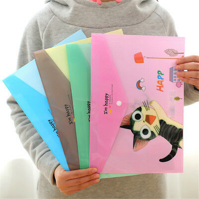 Cute Animals PVC A4 File Folder Document Filing Bag Stationery School Supplies