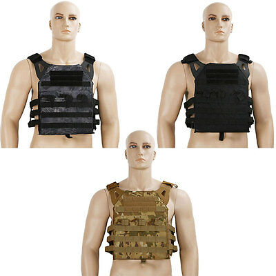 TACTEC PLATE CARRIER TACTICAL PADDED QUICK RELEASE POLICE MOLLE VEST BLACK/Camo