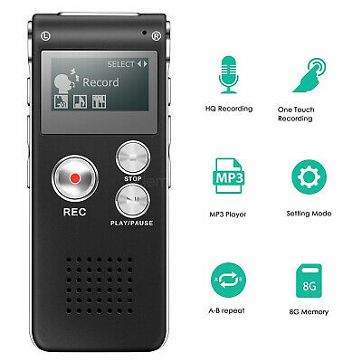 Digital Sound Voice Recorder Rechargeable Steel Dictaphone MP3 Player  8/16GB AU