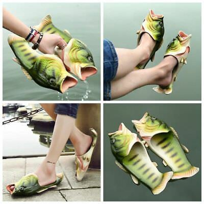 Mens Womens Novelty Funny Fish Shape Soft Slippers Flats Sumer Beach Shoes Size
