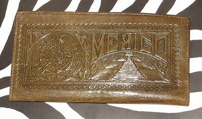 Vint. 50s 60s MAYAN Eagle MEXICO Tooled Leather *AZTEC WARRIOR* Checkbook WALLET