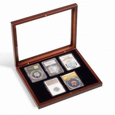 Certified Coin Slab Presentation Wood Box Case For 5 NGC PCGS Glass Lid Display