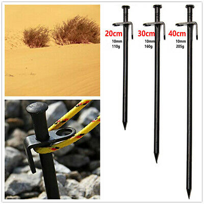 20 30 40cm Heavy Duty Steel Metal Tent Pegs Ground Nail Canopy Camping Stakes UK