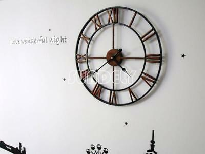 NEW 47cm Antique Distressed Skeleton Country Style Metal Oversize Wall Clock