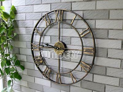 Gold Large Metal Wall Clock Vintage Business Office Home Bar Hotel Decoration