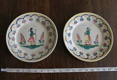 """2 x Henriot Quimper Plates 8 1/2""""  1 Plate with Chips"""
