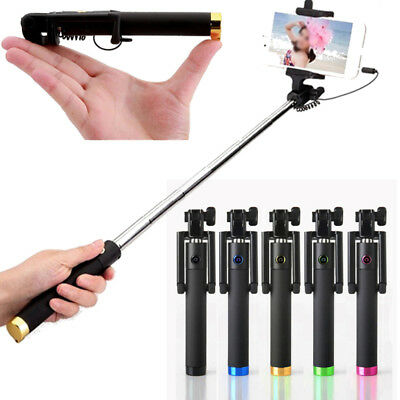 Portable Extendable Monopod Self-Pole Handheld Wired Selfie Stick For iPhone