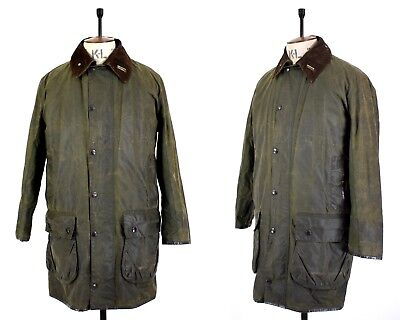 Men's Green BARBOUR PILE LINING Waxed Cotton Shooting Outdoor Farmers Jacket 36
