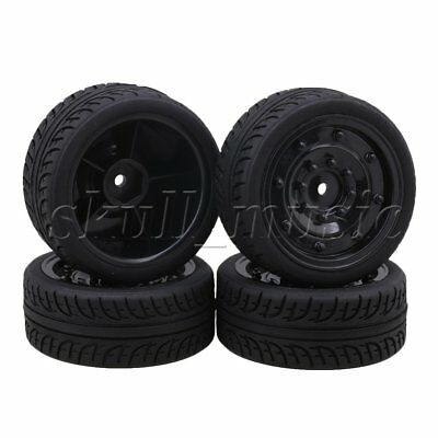 4PCS Rubber Word F-type Tyre Enclosed Wheel Rim for RC 1:10 On-Road Car