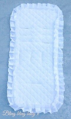 Universal Pram Pushchair Buggy Quilted Seat Liner White Broderie Anglaise Frills
