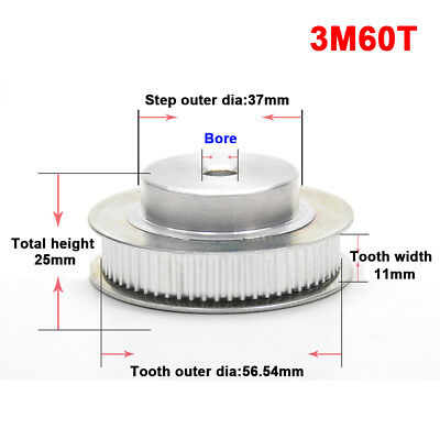 3M60T Pitch 3mm Synchronous Wheel Timing Belt Drive Pulley For 10mm Width Belt