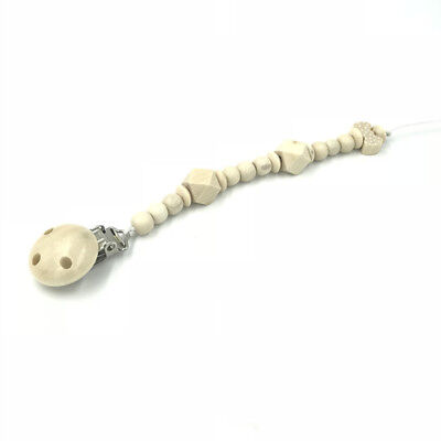 Natural Wood Pacifier Clips Wood Beaded Pacifier Chain Soother Baby Feeding