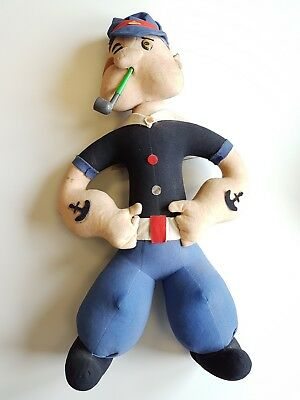Popeye comic character large 27 inch antique vintage felt doll Very Rare!