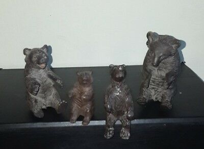 Collection Of 4 Black Forest Carved Bears Siting Bear  German Wooden Antique