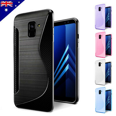 S CURVED S Wave Style Soft Gel Shockproof Case Cover For Samsung Galaxy A8 2018