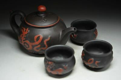 Chinese Yixing Zisha Pottery Carving *dragon Horse*3 Teacup Teapot