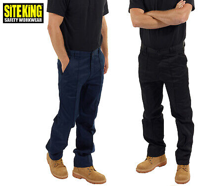 SITE KING Classic Mens Work Trousers Size 28 to 52 in Black Or Navy Blue - 001