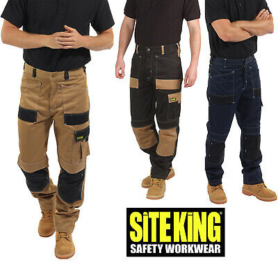 Mens Contrast Elasticated Work Trousers with Holster Pockets By SITE KING - 010