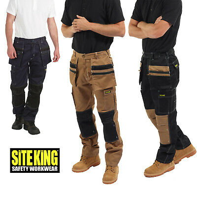 Mens Holster Pocket Elasticated Work Contrast Cargo Trousers By SITE KING - 011