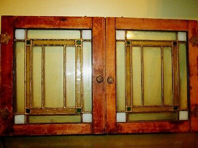 Antique Arts Crafts Stained Glass Cabinet Door Window Frank Lloyd Wright Era