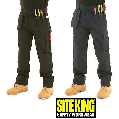 Mens Heavy Duty Cargo Holster Pocket Work Trousers By SITE KING - ORIGINAL 007