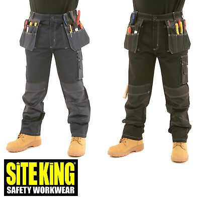 Mens Heavy Duty Contrast Cargo Holster Pocket Work Trousers By SITE KING - 009