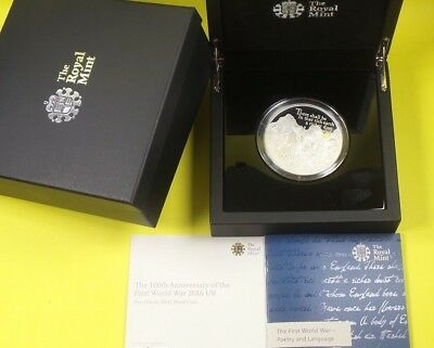 2016 Royal Mint 5 Oz Proof 999 Silver £10 Anniversary Of Wwi Coin Cased & Cert