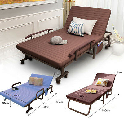 Metal Fold up Guest Visitor Compact Bed With Mattress Folding Away Beds Recliner