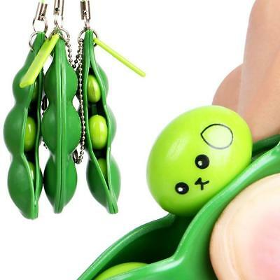 Anti Stress Fidget Squeeze Pea Bean Squishy Toy Pendant Key ring Slow Rise UK