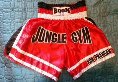 "Thai Boxing shorts "" Boon"" red white and black."